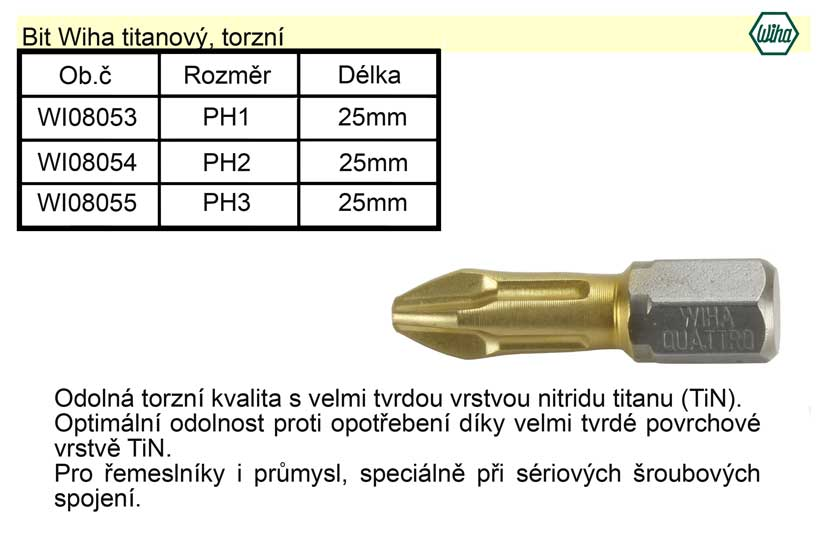 Bit Wiha titanový PH3x25mm, torzní