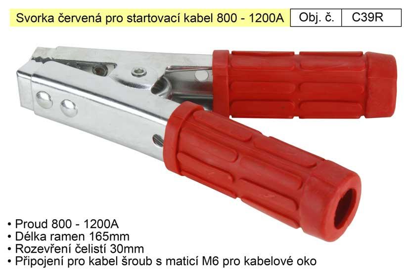 Svorka červená pro startovací kabel 800 - 1200A