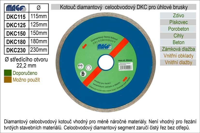 Kotouč diamantový celoobvodový pro úhlové brusky DKC150