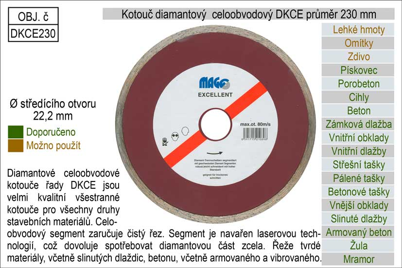 Kotouč diamantový celoobvodový pro úhlové brusky DKCE230