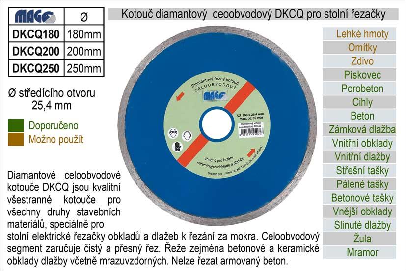 Kotouč diamantový celoobvodový DKCQ180 pro řezačky dlažeb