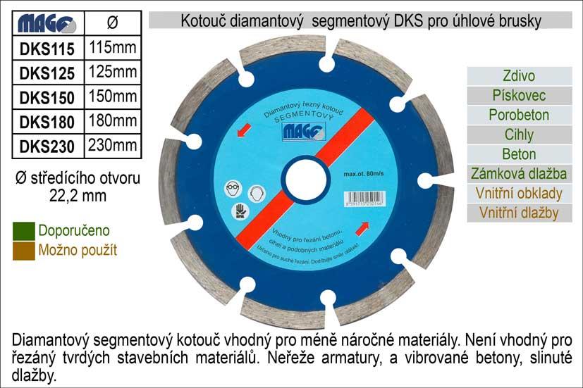 Kotouč diamantový segmentový pro úhlové brusky DKS150 Nářadí 0.231Kg DKS150