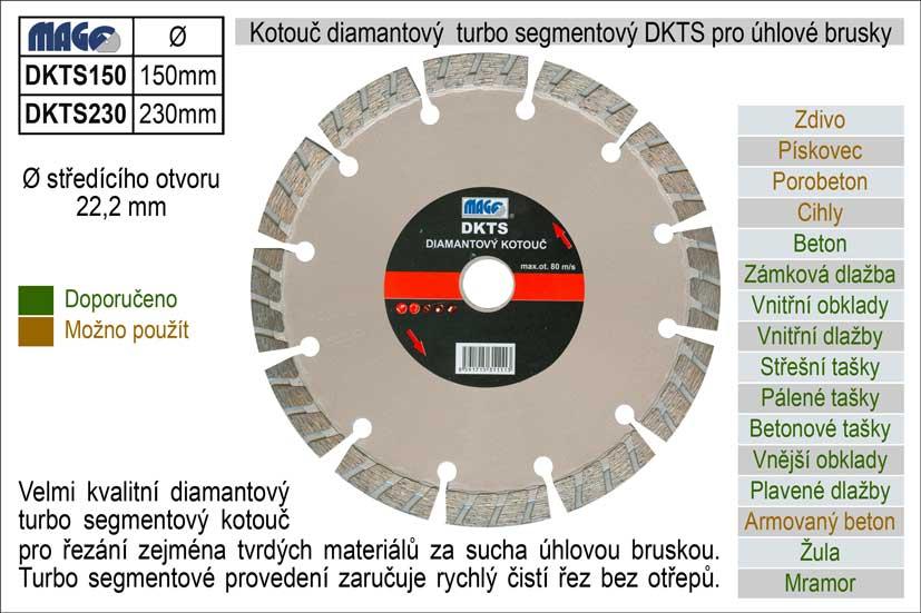 Kotouč diamantový  turbo-segmentový pro úhlové brusky DKTS230