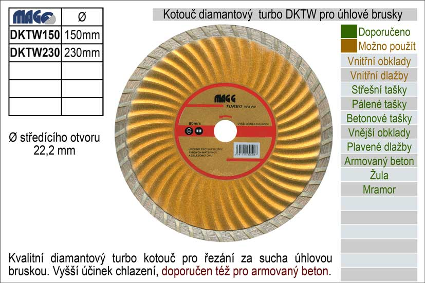 Kotouč diamantový turbo pro úhlové brusky DKW150