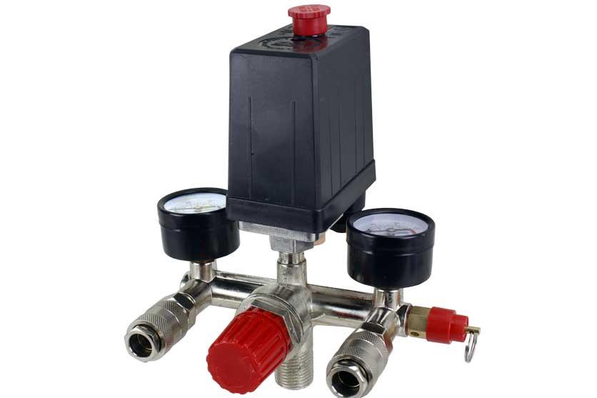 Tlakový spínač s vypínačem a regulátorem tlaku ke kompresoru 0-8 bar / 230 V GEKO