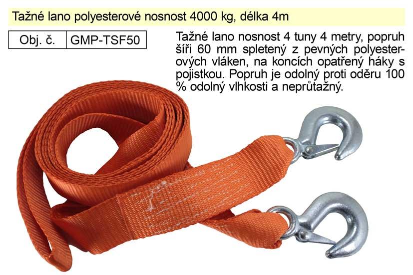 Tažné lano polyesterové nosnost 4000 kg, délka 4m