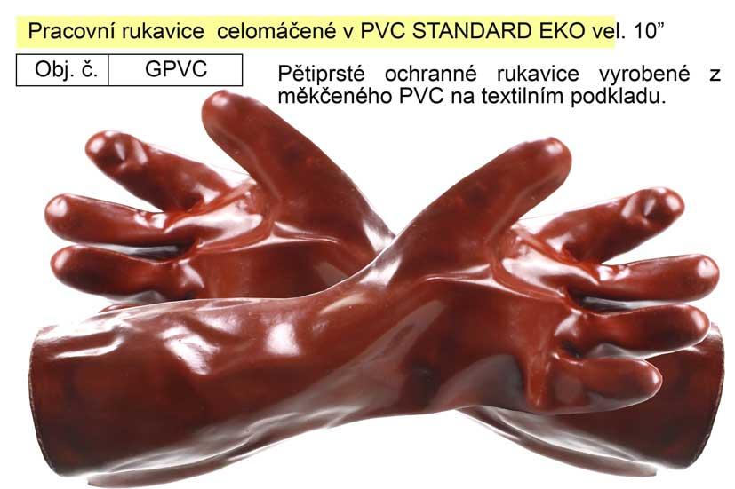 "Pracovní rukavice  celomáčené v PVC STANDARD EKO vel. 10"""