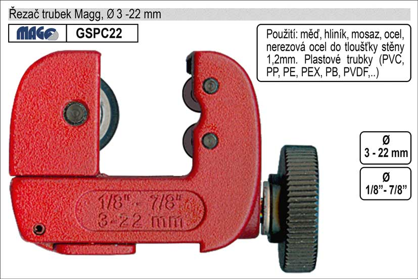 Řezač tenkostěnných trubek 3-22mm Magg