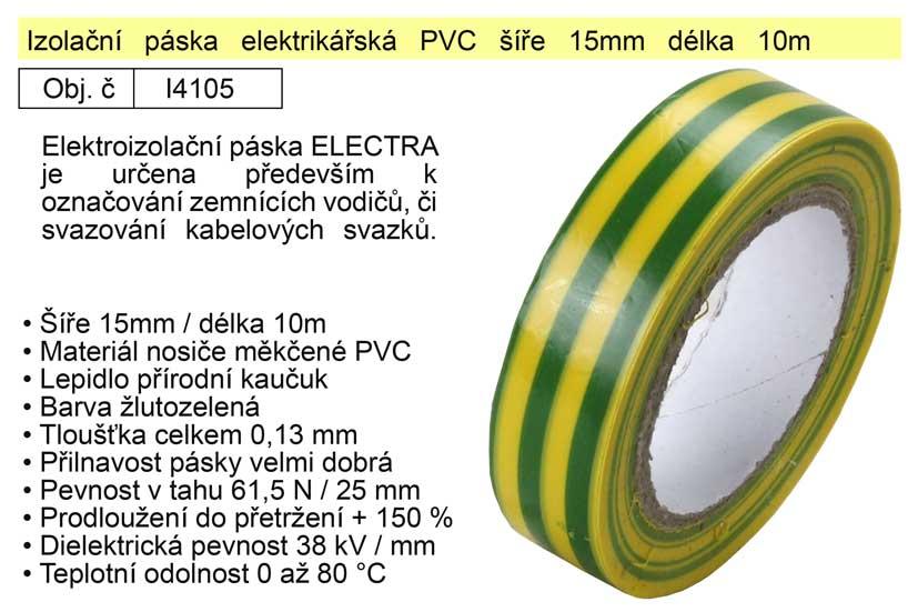 Izolační páska elektrikářská PVC šíře 15mm délka 10m žlutozelená