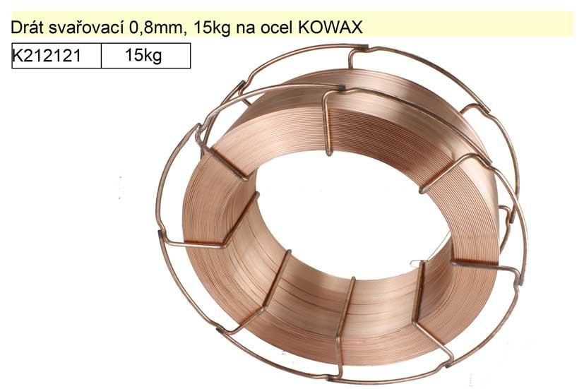 Drát svařovací 0,8mm, 15kg na ocel KOWAX