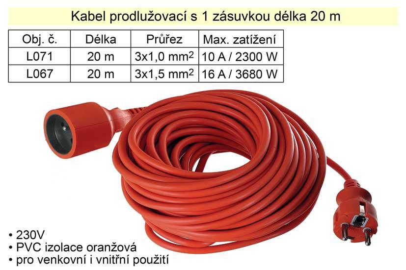 Prodlužovací kabel 1 zásuvka délka 20 m 10 A
