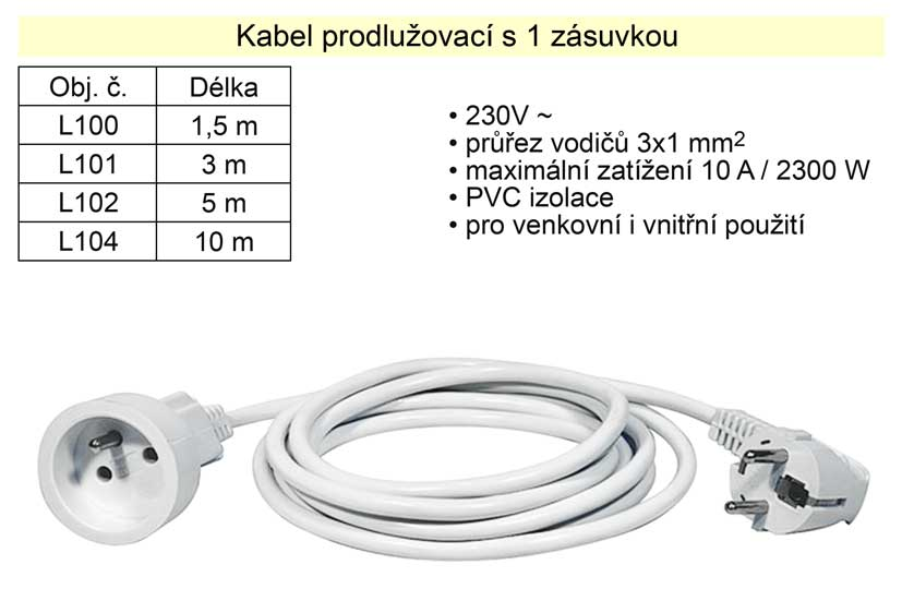 Prodlužovací kabel 1 zásuvka délka  3 m Nářadí 2Kg L101
