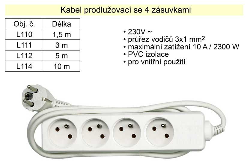 Prodlužovací kabel 4 zásuvky délka  1,5 m