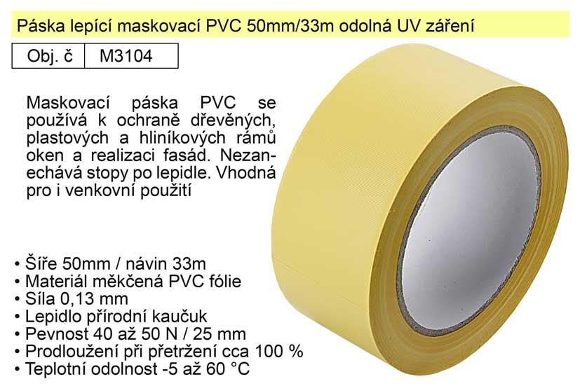 Páska lepící maskovací PVC 50mm/33m odolná UV záření žlutá