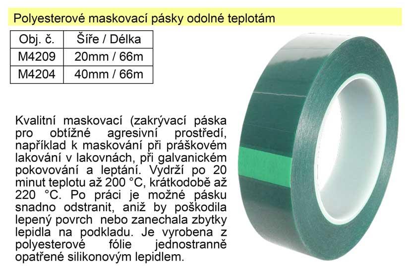 Polyesterová maskovací páska 40mm x 66m odolná teplotám