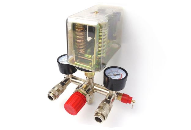 Tlakový spínač s vypínačem a regulátorem tlaku ke kompresoru 3 fázový 8bar / 400V