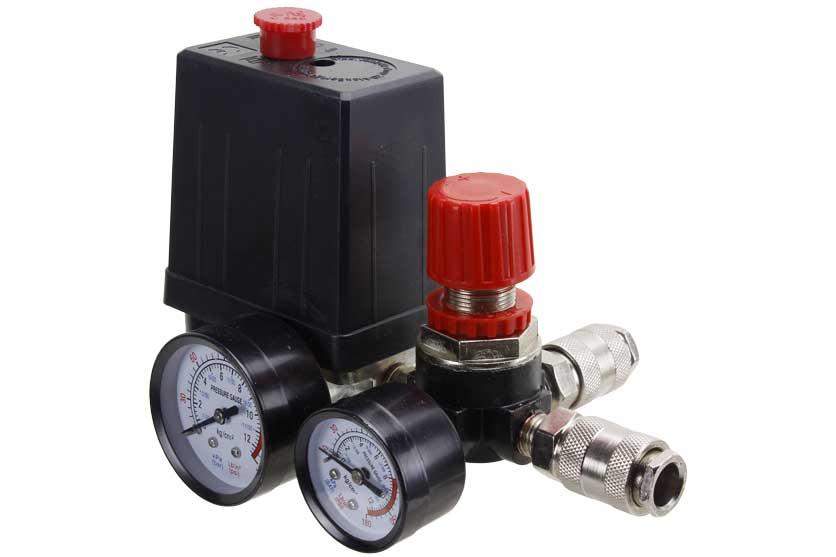 Tlakový spínač s vypínačem a regulátorem tlaku ke kompresoru 0-8 bar / 230 V MAR-POL