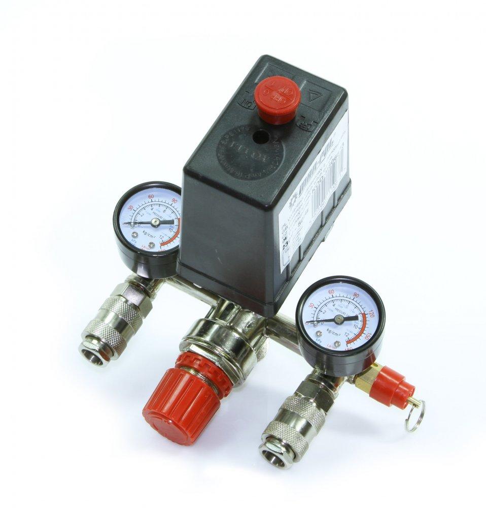 Tlakový spínač pro kompresor s manometrem 6-8 bar MAR-POL