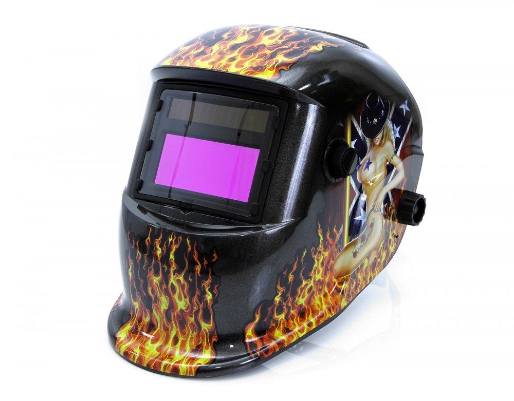 Svářečská kukla samostmívací s potiskem oheň, černá MAR-POL