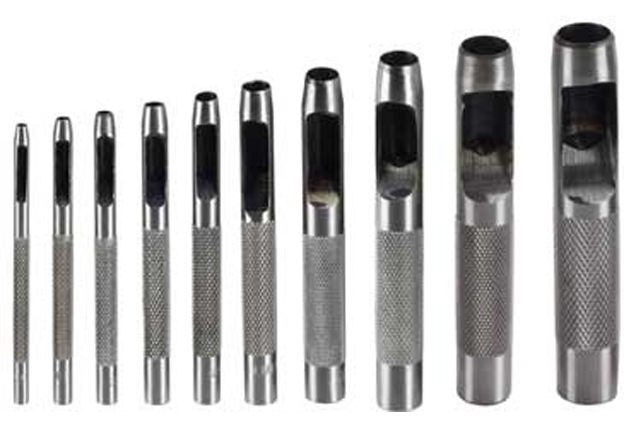 Děrovače (razníky),  sada 9 kusů,  průměry 2,5 – 10 mm, Extol Craft