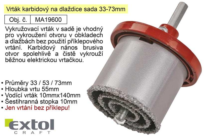 Vrták karbidový na dlaždice sada 33-73mm vykružovací 19600 Nářadí 0.6Kg MA19600