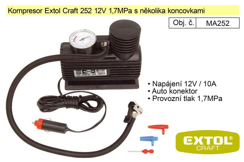 Kompresor Extol Craft 252 12V 1,7MPa s několika koncovkam