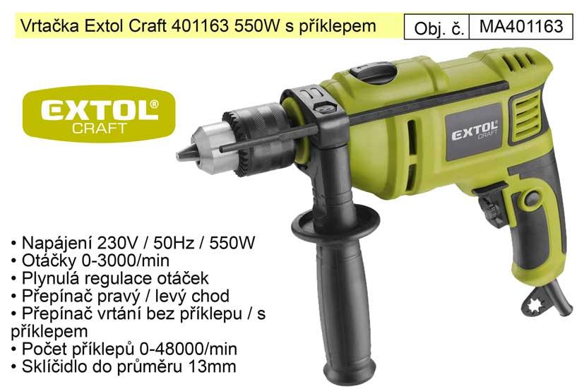 Elektrická vrtačka s příklepem 550 W Extol 401163