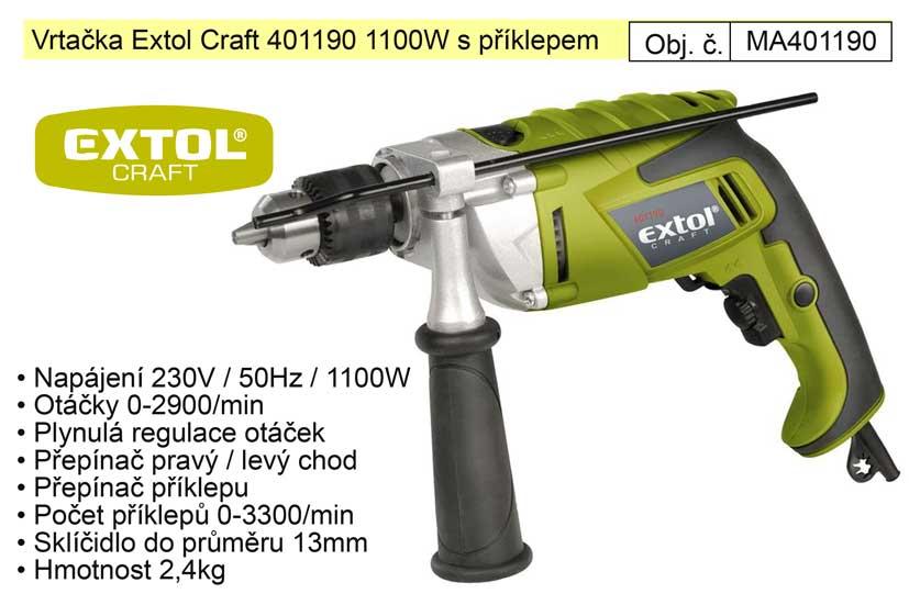 Elektrická vrtačka s příklepem 1100 W Extol 401190