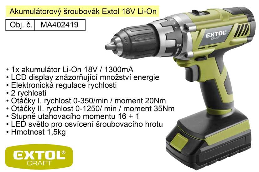 Aku šroubovák 18 V / 1300 Ah  Li-On Extol 402419