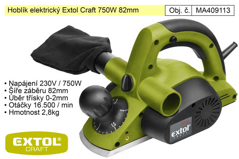 Hoblík elektrický 82 mm 750 W Extol Craft
