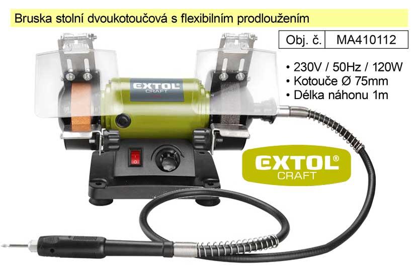 Bruska stolní dvoukotoučová Extol Craft 410112 s přímou bruskou s flexibilním prodloužením