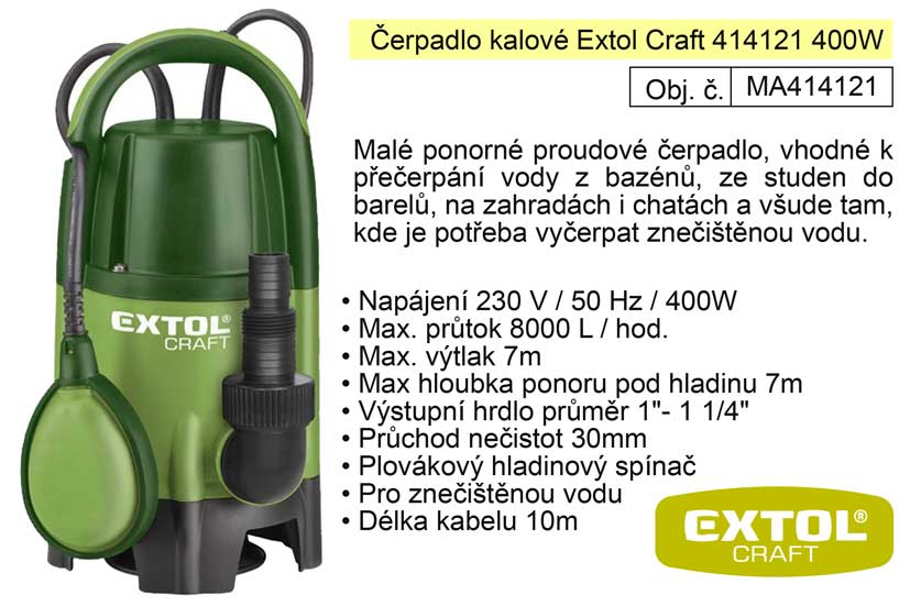 Čerpadlo elektrické kalové 400 W 8000 l / hod Extol  414121
