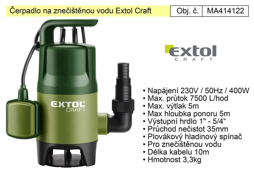 Čerpadlo na znečištěnou vodu Extol Craft 414122 - 230V/400W