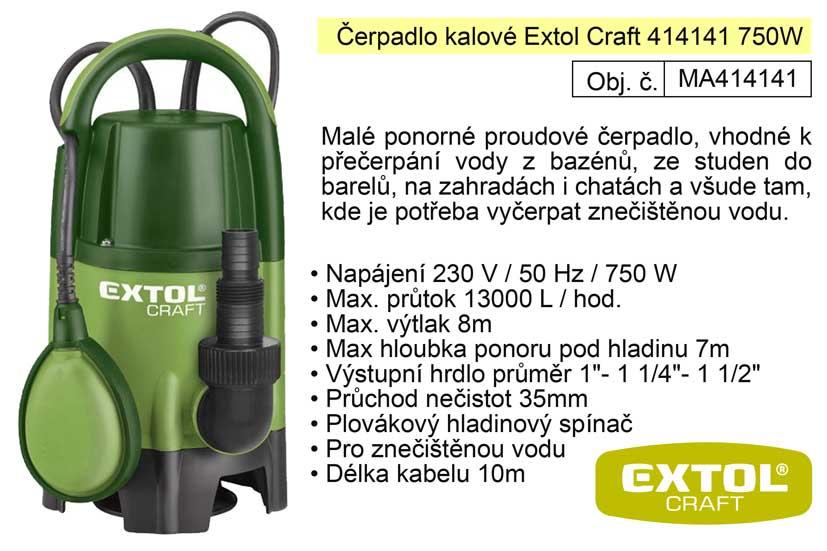 Čerpadlo elektrické kalové 750 W 13000 l / hod  Extol 414141