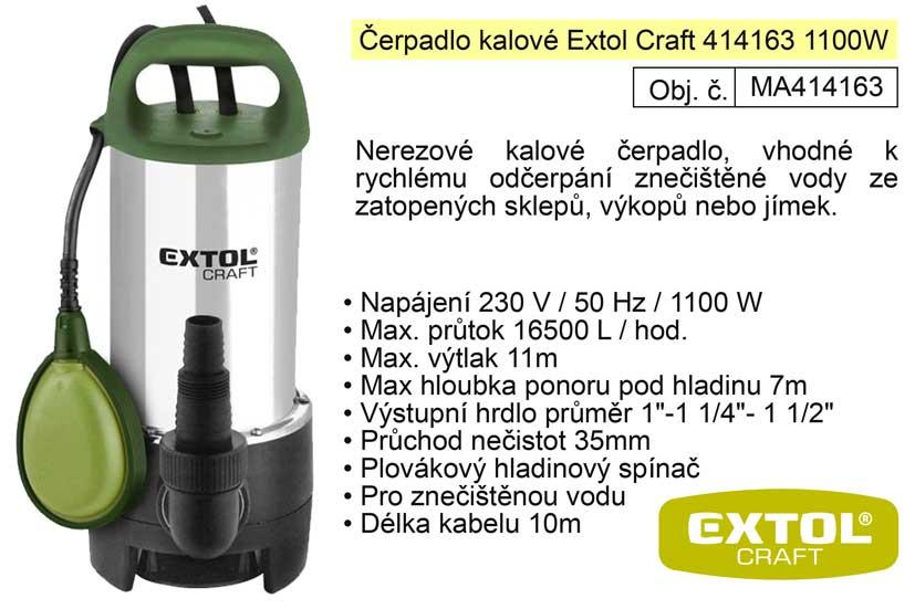 Čerpadlo elektrické nerezové kalové 1100 W 16500 l / hod  Extol 414163