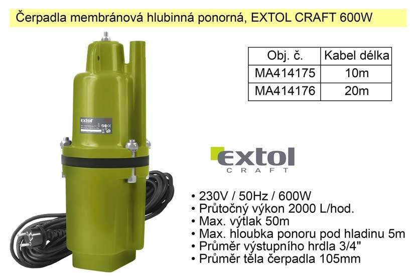 Čerpadlo hlubinné Extol Craft 600W, kabel 10m