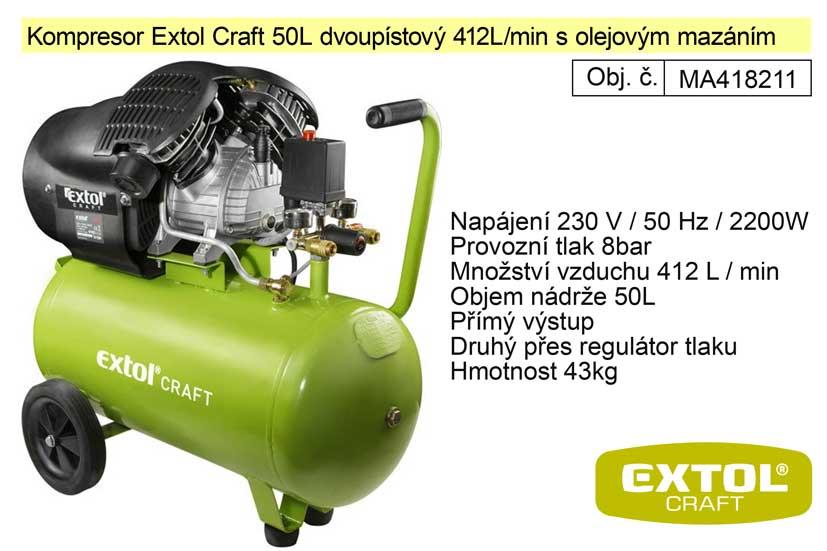 Kompresor olejový dvoupístový 50L 3HP / 2200W / 230V EXTOL CRAFT Nářadí-Sklad 2 | 46 Kg
