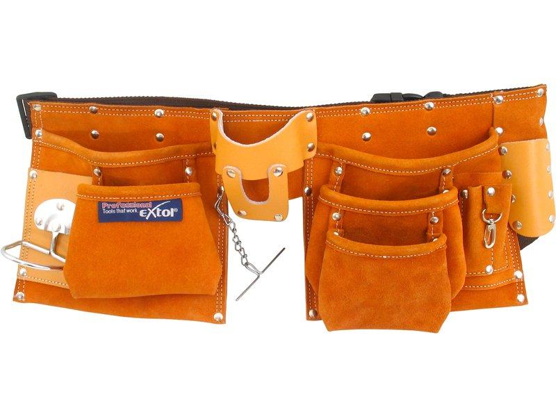 pás na nářadí kožený, 9 kapes (2 velké, 3 střední, 4 malé), držák na kladivo, poutko na k