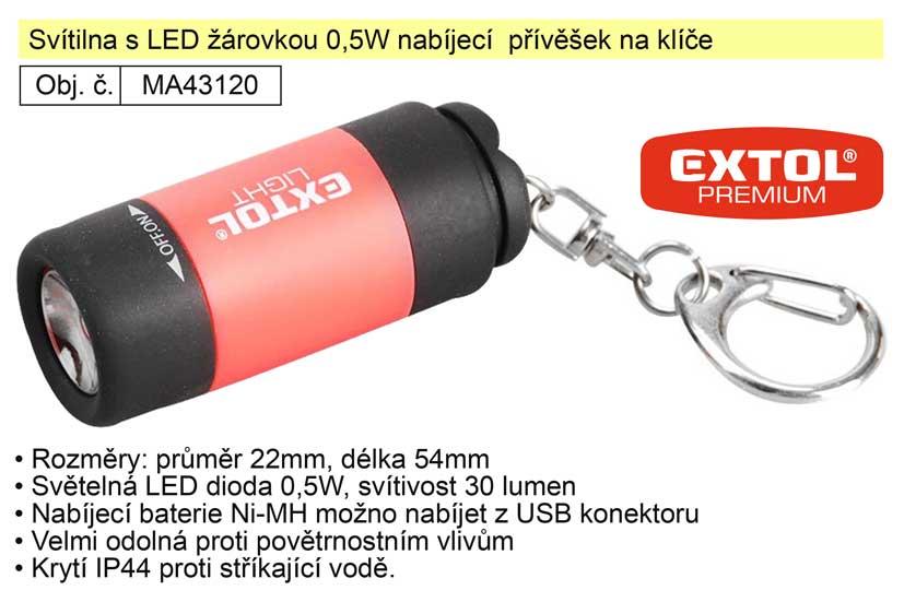 Svítilna s LED žárovkou 0,5W nabíjecí  přívěšek na klíče
