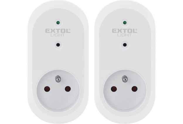 Dálkově ovládané zásuvky 2 kusy bez ovladače Extol Light