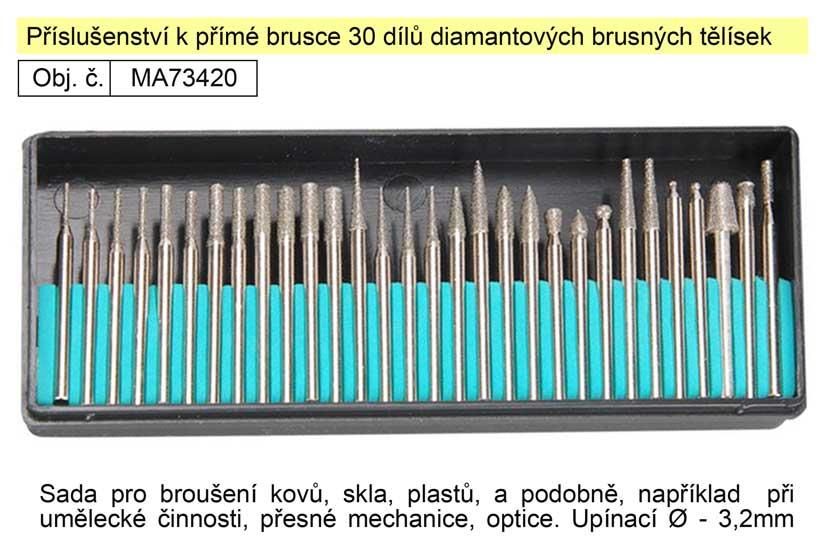 Příslušenství k přímé brusce 30 dílů diamantových brusných tělísek Nářadí 0.139Kg MA73420
