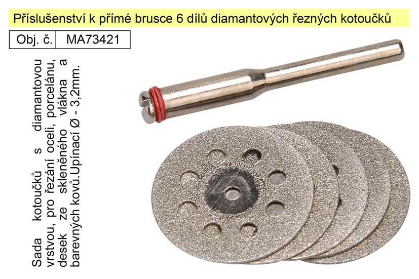 Příslušenství k přímé brusce 6 dílů diamantových řezných kotoučků