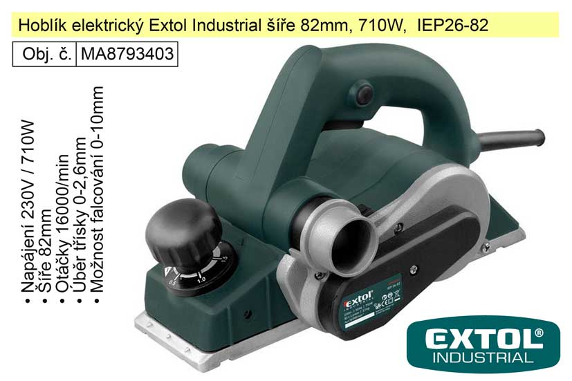 Hoblík elektrický Extol Industrial šíře 82mm, 710W,  IEP26-82