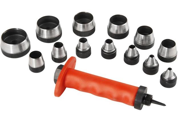 Děrovače,  sada 14 kusů,  průměry 5,0 – 35,0 mm se středícím trnem, Extol Premium