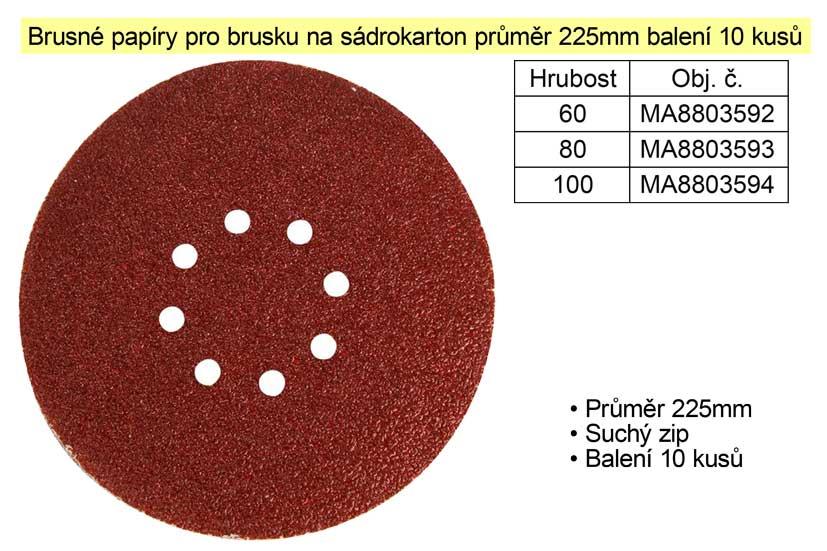 Brusné papíry pro brusku na sádrokarton průměr 225mm P60 balení 10 kusů