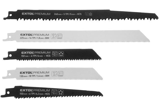 Listy pro mečovou pilu, mix 5 různých druhů, Extol Premium