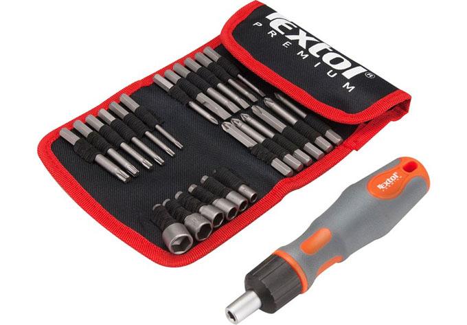 Šroubovák ráčnový s bity a nástrčnými klíči, sada 25 dílů, Extol Premium