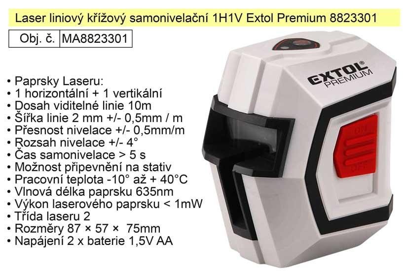 Laser liniový křížový samonivelační 1H1V Extol Premium 8823301 Nářadí | 0,45 Kg
