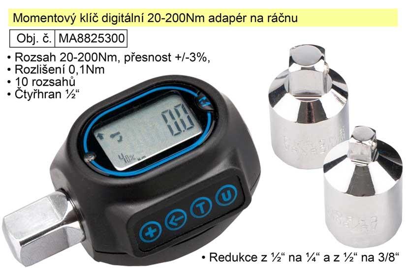 Momentový klíč digitální 20-200Nm adapér na ráčnu 8825300 - Extol