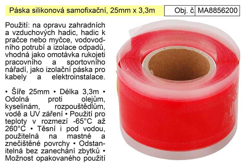 Páska silikonová samofixační, 25mm x 3,3m Extol Premium 8856200